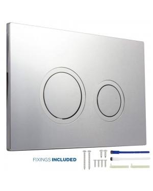 Concealed Cistern Push Toilet Button Dual Flush Round Chrome / Satin
