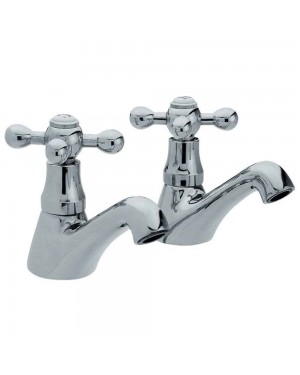 LUXURY CROSS HEAD TRADITIONAL STERLING BATHROOM BASIN/SINK TAPS CHROME X381