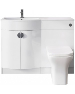 Bathroom Space P Shaped Vanity Unit LEFT HAND & Back to Wall Unit Set WHITE