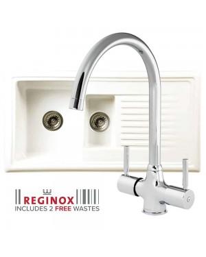 Reginox Kitchen Sink Ceramic Reversible Inset 1.5 Bowl & THAMES Tap