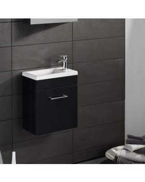 Modern Bathroom Compact Vanity Unit 400mm Wall Hung Anthracite Grey Lomond