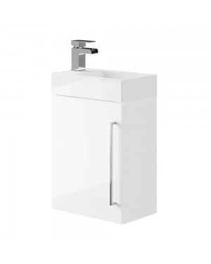 Cloakroom Wall Hung Vanity Sink Unit White Incl Waterfall Mixer Tap