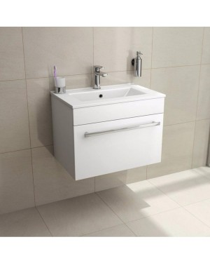 Gloss White 600mm Wall Hung Drawer Vanity Basin Sink Unit