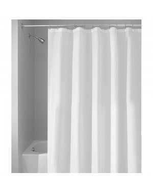 180 X 180 Machine Washable Polyester White Shower Curtain Including Rings