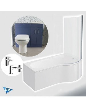 P Shape Right Hand Bathroom Suite in Matt Blue Vanity Unit BTW Pan Square Tap Set