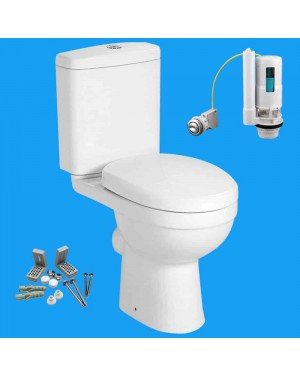 Close Coupled D Shape Toilet Pan & Cistern With Soft Close Seat