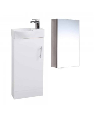 400 White Slimline Unit & Mirror Cabinet With Tap