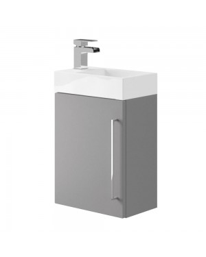 Cloakroom Wall Hung Vanity Sink Unit Dove Grey Incl Waterfall Mixer Tap