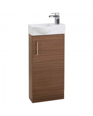 Walnut 400 Modern Compact Vanity Cabinet Basin Sink Unit Cloakroom Bathroom