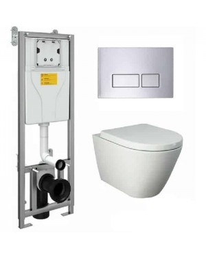 RAK Wall Hung Toilet Pan & Seat Including W/H Frame & Dual Flush Button