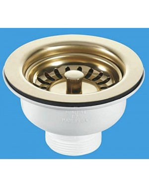 McAlpine 90mm Basket Strainer Waste - Stemball Plug (Gold)