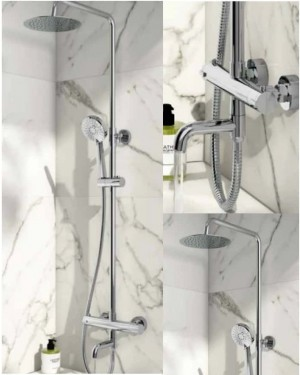 BATHROOM SOLAR RIGID RISER SHOWER WITH BATH FILLER MIXER TAP