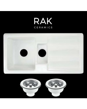 RAK 1.5 Bowl Ceramic Kitchen Sink & Basket Strainer Waste Pair