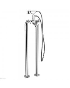 Classic Traditional Chrome Freestanding Bath Shower Mixer complete with handset