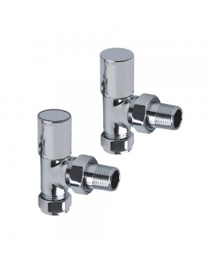 "15mm Angled Rad Towel Rail Radiator Valves & Lockshield Chrome Brass 1/2"" BSP"